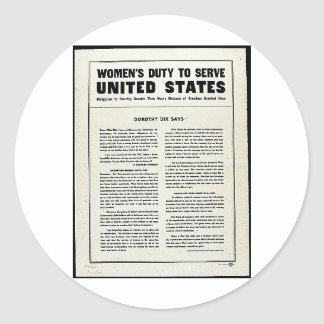 Women's Duty To Serve United States Classic Round Sticker