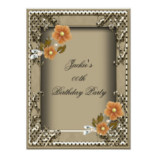 Women's Elegant Birthday Party Brown Card