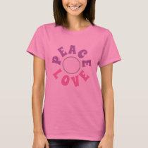 Women's fashion PEACE LOVE novelty tee shirt