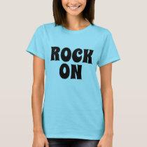 Women's fashion vintage ROCK ON Novelty tee