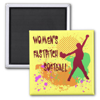 WOMEN'S FASTPITCH SOFTBALL 2 INCH SQUARE MAGNET