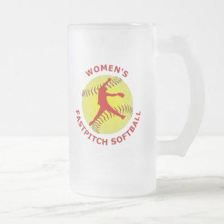 Women's Fastpitch Softball Frosted Glass Beer Mug