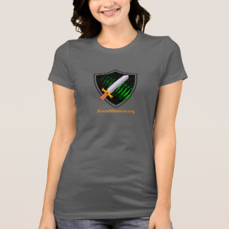 Women's fitted gray tshirt Prion Alliance logo