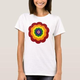 Womens Fitted Shirt, Cute Rainbow Flower T-Shirt
