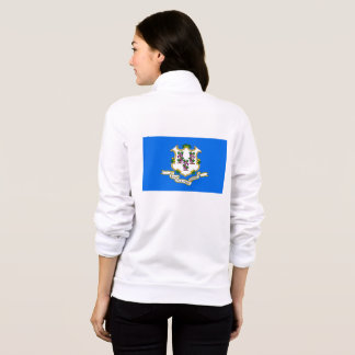 Women's  Fleece Zip Jogger flag of Connecticut USA Jacket