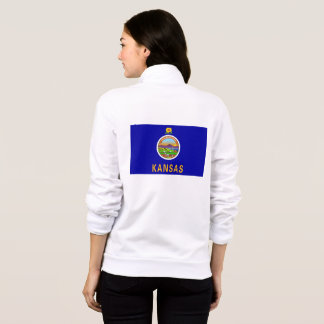Women's  Fleece Zip Jogger flag of Kansas, USA Jacket