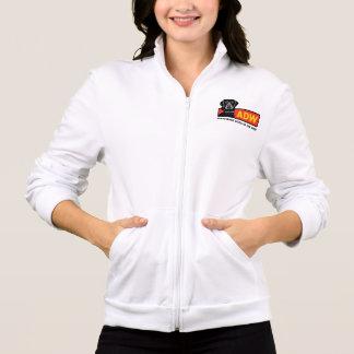 Women's Fleece Zip Jogger (white) - Printed Jacket