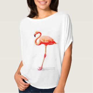 Women's Flowy Top: Pink Flamingo Watercolor T-Shirt