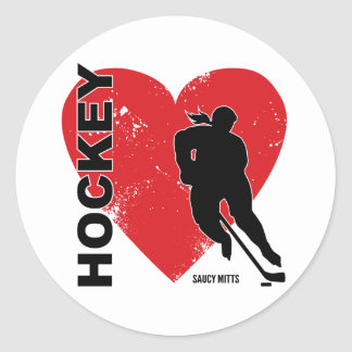 Women's Girls Love Heart Hockey Classic Round Sticker