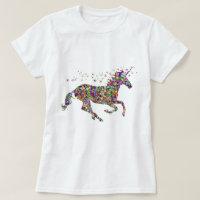 Womens Girls T-Shirt Colorful Mosaic Unicorn