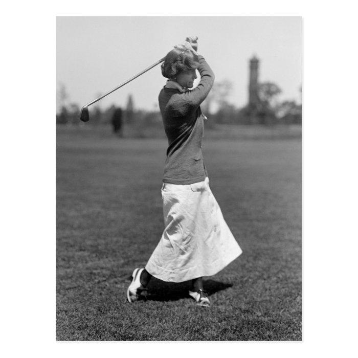 Women's Golf Fashion, 1910s Postcard