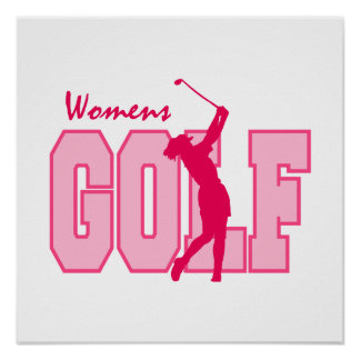 Women's Golf Pink Posters