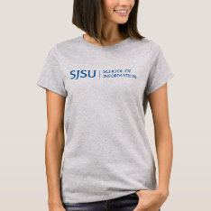Women's Gray T-shirt With Blue Ischool Logo at Zazzle