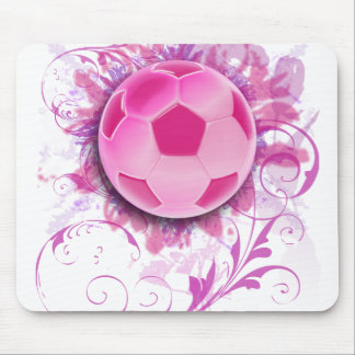 Women's Grunge Floral Soccer Mouse Pad