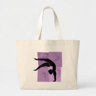 Women's Gymnastics Purple and Black Tote Bags