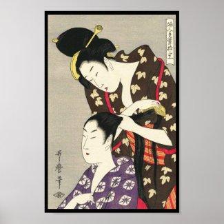Womens hairdressing Utamaro Yuyudo ukiyo-e art Posters
