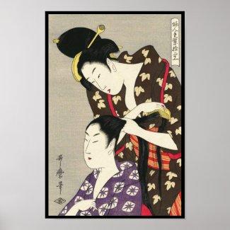 Womens hairdressing Utamaro Yuyudo ukiyo-e art Poster
