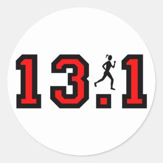 Womens half marathon classic round sticker