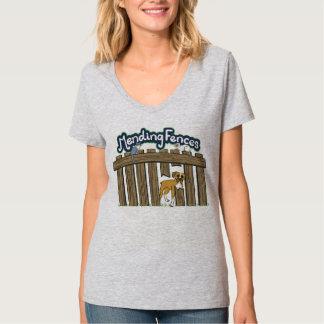Women's Hanes V-Neck T-Shirt, Light Steel T-Shirt