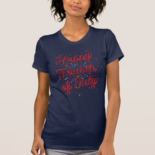 Womens Happy 4th of July T_shirt Dk Blue Red