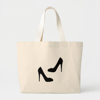 Womens High Heel Shoes in Silhouette Large Tote Bag