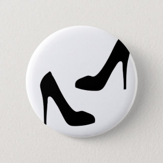 Womens High Heel Shoes in Silhouette Pinback Button