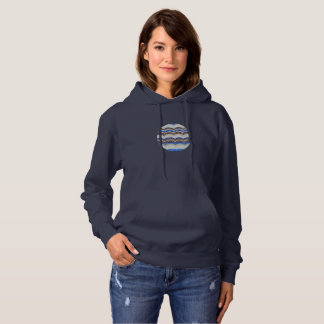 Women's hooded sweatshirt with blue mosaic
