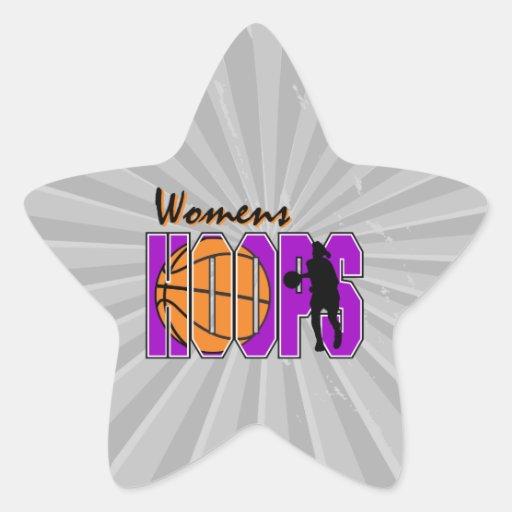 womens hoops purple basketball design star sticker