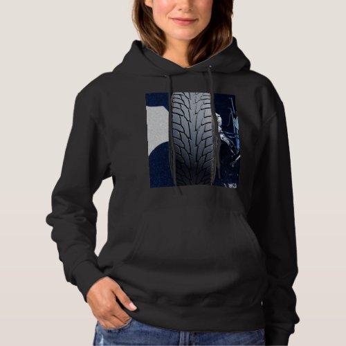 Women's hot rod tire hooded sweatshirt