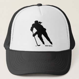 Women's Ice Hockey Player Silhouette Trucker Hat