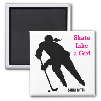 Women's Ice Hockey Player Skate Like a Girl 2 Inch Square Magnet