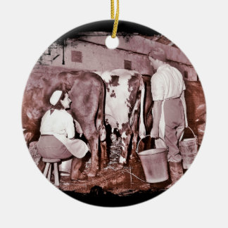 Women's Land Army DAIRY Double-Sided Ceramic Round Christmas Ornament