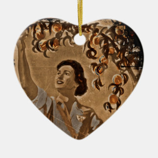 Women's Land Army Harvesting Ceramic Ornament