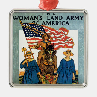 Women's Land Army Square Metal Christmas Ornament
