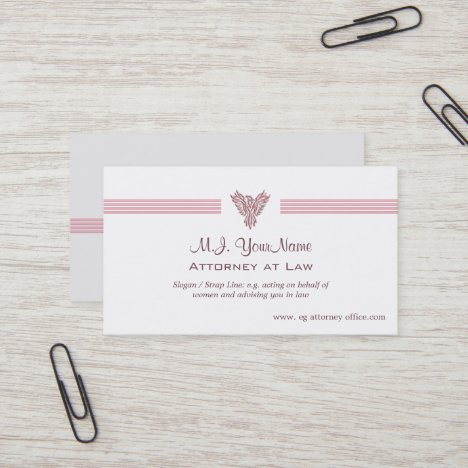 Womens Lawyer / Attorney - stripes, pink phoenix Business Card