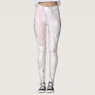 Womens Leggings Pink And Grey Marble Effect