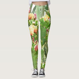 Women's Leggings - Prickly Pear Blooms