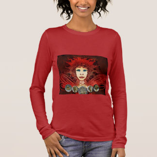 Women's Long Sleeve Shirt with Red Art Déco Fairy