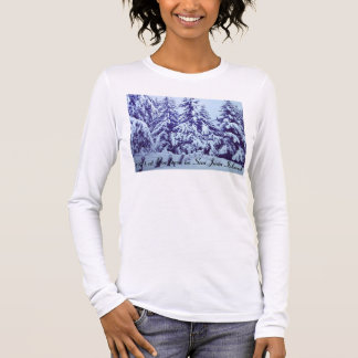 Women's long sleeve shirt with snow scene.