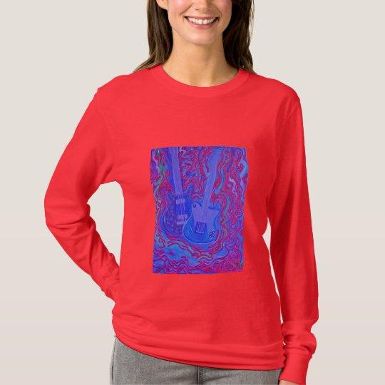 Women's Long Sleeve Tee- Moddy Blue & Red Guitar T-Shirt
