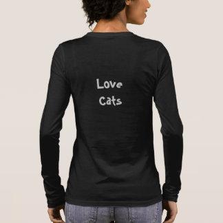 Women's Long Sleeve V-Neck Shirt, Love Cats Long Sleeve T-Shirt