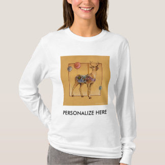 Women's Long Sleeved Tees - Carousel Reindeer Elk