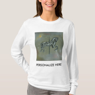 Women's Long Sleeved Tees - Carousel Zebra