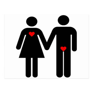 Womens love vs mens love joke humour postcard