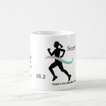 Women's Marathon Pink and Teal Ribbon Coffee Mug