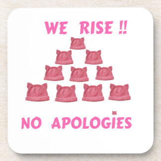 WOMEN'S MARCH WE RISE  NO APOLOGIES BEVERAGE COASTER