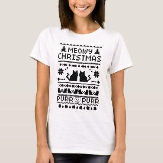 Women's Meowy Christmas Ugly Cat t-shirt