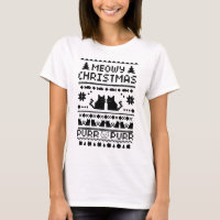 Women's Meowy Christmas Ugly Cat t-shirt