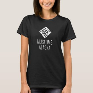 Women's Museums Alaska Vertical Logo Black T-Shirt
