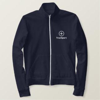 Women's Navy Fleece Zip Track Jacket w/ Embroidery